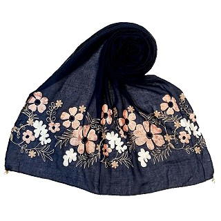 Limited edition embroidered flower hijab - Navy Blue
